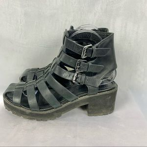 ALDO leather strappy caged heeled boots Sz 8.5